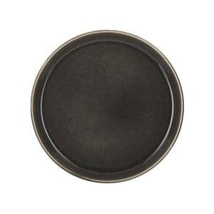 Tmavosivý kameninový plytký tanier Bitz Mensa, priemer 21 cm
