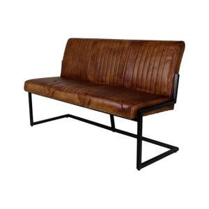 Hnedá lavica s koženým poťahom HSM Collection Texas