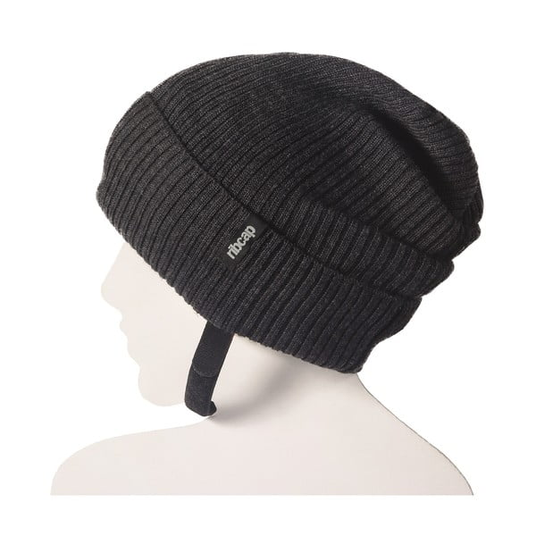 Antracitová čapica s ochrannými prvkami Ribcap Lenny, veľ. S