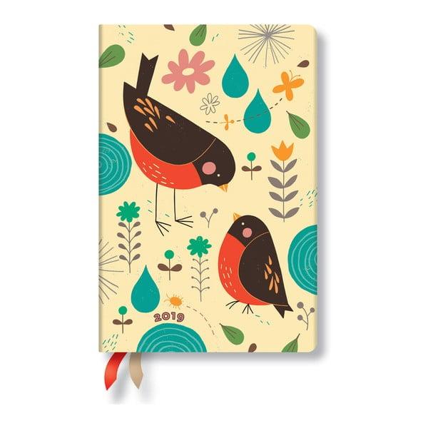 Denný diár na rok 2019 Paperblanks Mother Robin, 9,5×14 cm