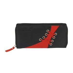 Čierno-červená peňaženka z teľacej kože Friedrich Lederwaren Shoe