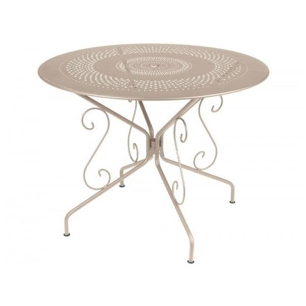 Svetlobéžový kovový stôl Fermob Montmartre, Ø96cm