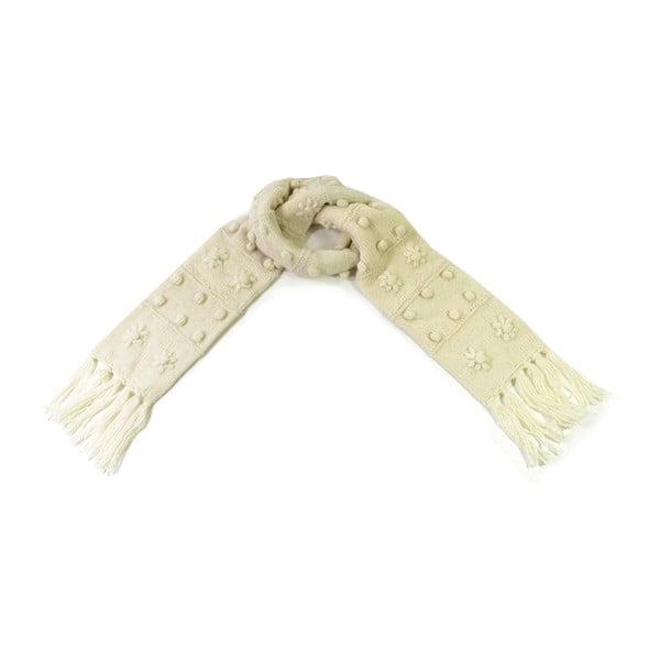 Vlnený šál s flisovou podšívkou Biele strapce