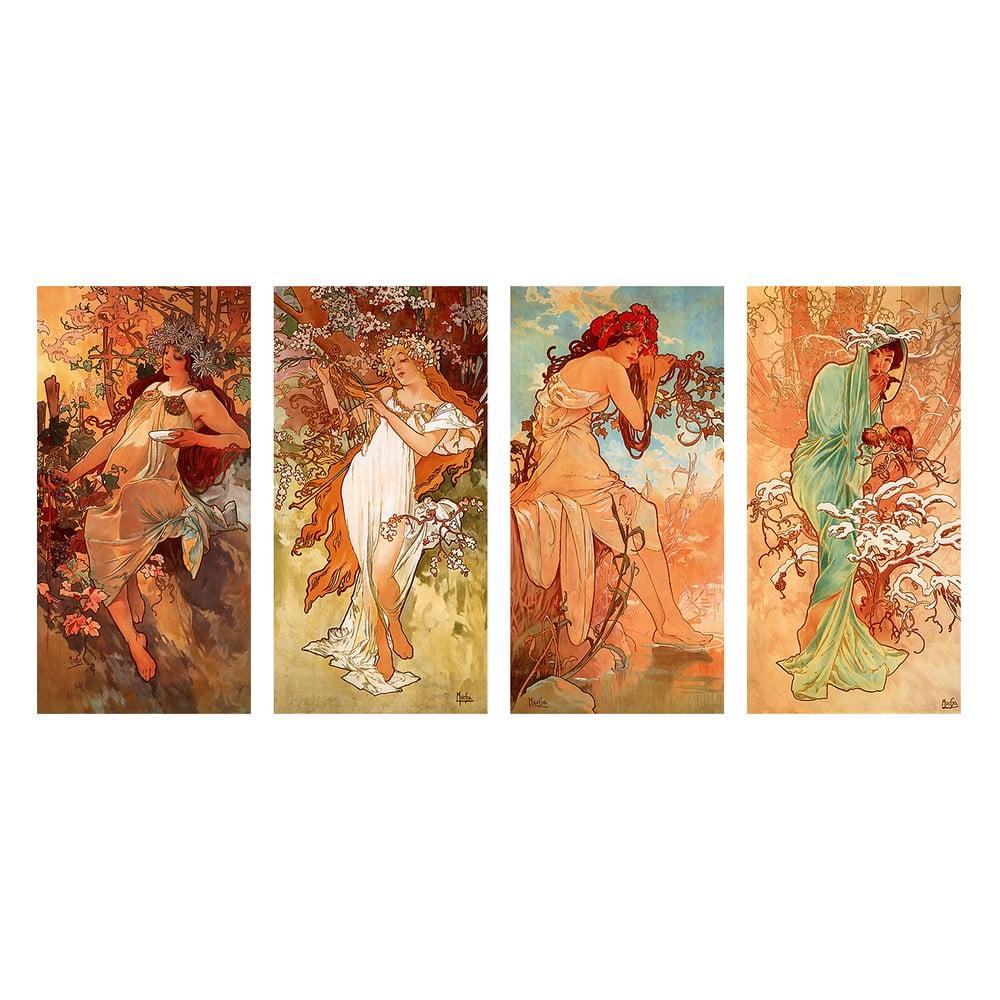 Reprodukcia obrazu Alfons Mucha - Pory Roku, 80 × 40 cm