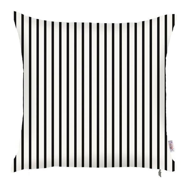 Čierno-biela obliečka na vankúš Apolena Pinky Light Stripes, 43 × 43 cm