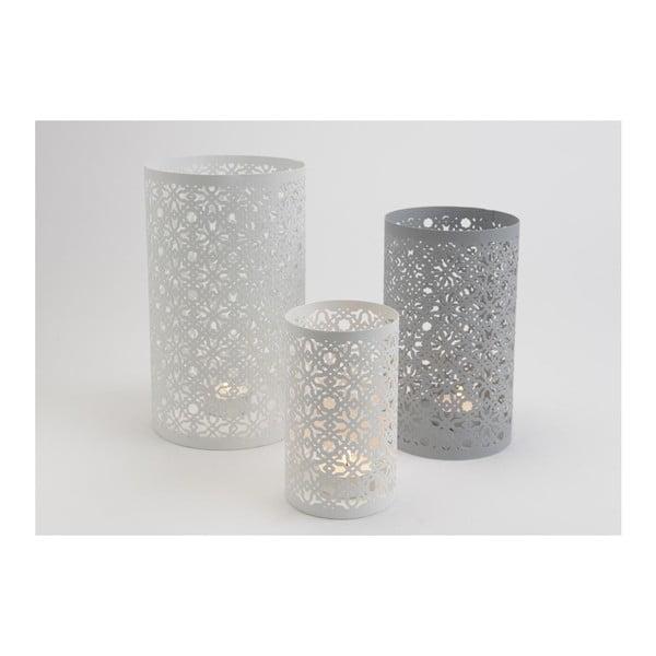 Set 3 kalíškov na sviečku Grey/White