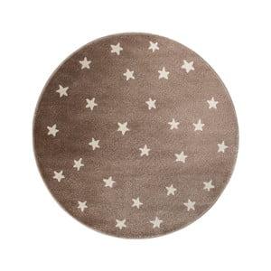 Hnedý okrúhly koberec s hviezdami KICOTI Brown Stars, 133 × 133 cm