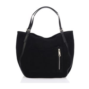 Kožená kabelka Krole Karin, čierna