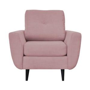 Ružové kreslo Mazzini Sofas Cedar, tmavé nohy