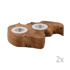 Sada 2 svietnikov z teakového dreva VICAL HOME Azniv