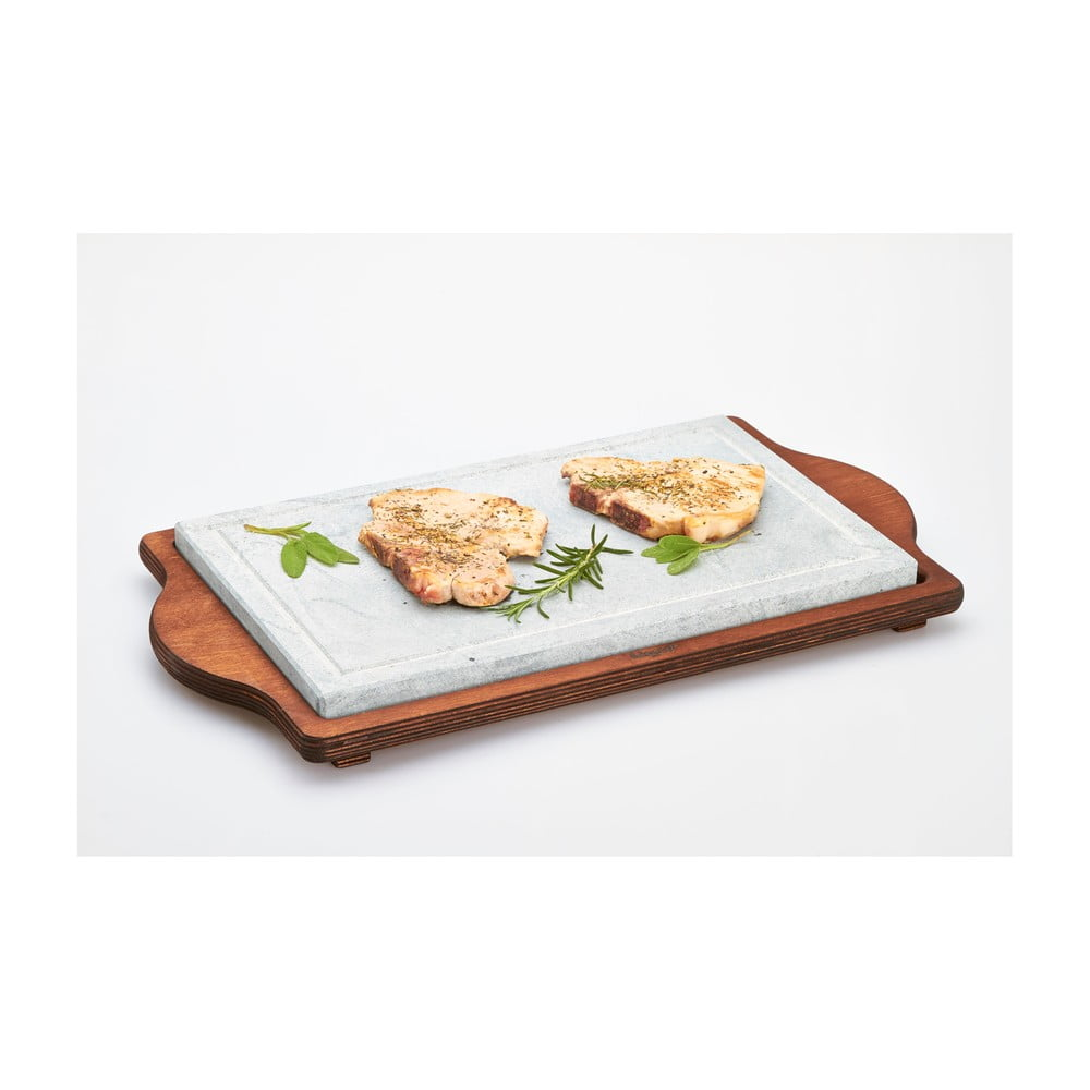 Servírovací podnos s kamennou doskou Bisetti Stone Plate, 30 × 52 cm