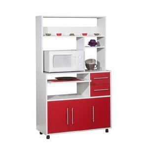 Červeno-biely pojazdný kuchynský úložný systém s policami Symbiosis Cesar