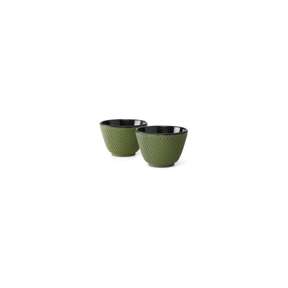 Sada 2 zelených liatinových hrnčekov na čaj Bredemeijer Xilin, ⌀ 7,8 cm