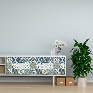 Sada 24 samolepiek na nábytok Ambiance Cement Tile Furniture Paulina, 15 x 15 cm