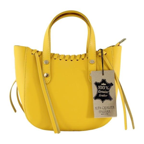 Žltá kožená kabelka Anna