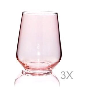 Sada 3 ružových pohárov Mezzo Amor, 220 ml