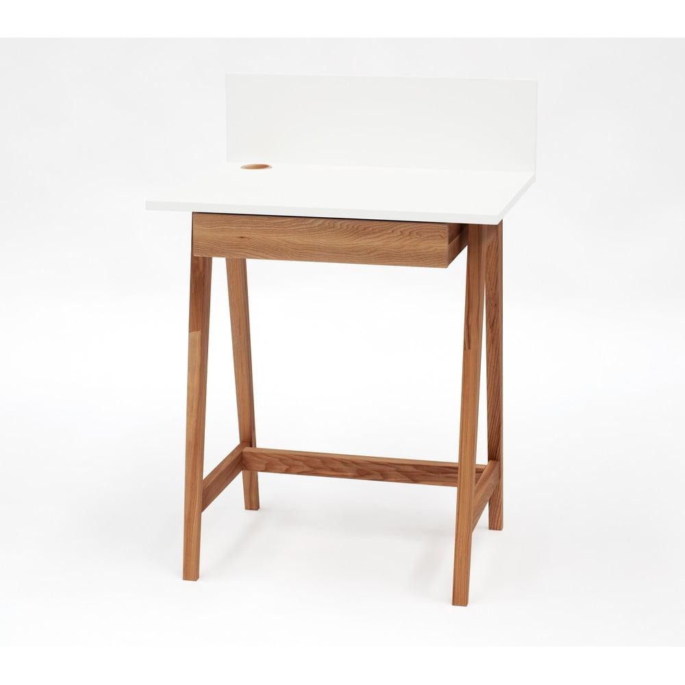 Biely písací stôl s podnožím z jaseňového dreva Ragaba Luka Oak, dĺžka 65 cm