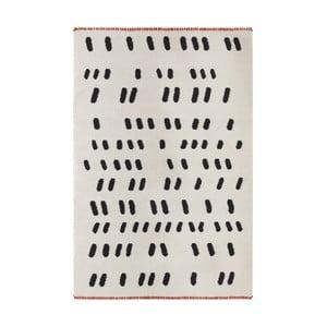 Ručne tkaný krémový vlnený koberec s čiernymi detailmi Art For Kids Dashed , 160 x 230 cm