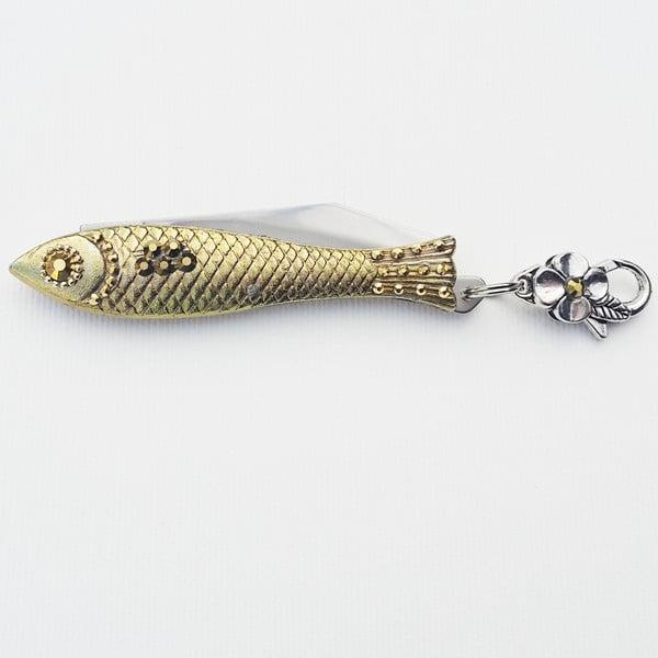 Vianočný český nožík rybička so zlatými kryštálmi, v plechovej krabičke