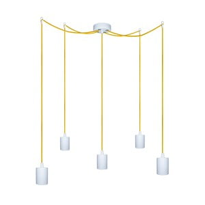 Päť závesných káblov Cero, žltý/biely