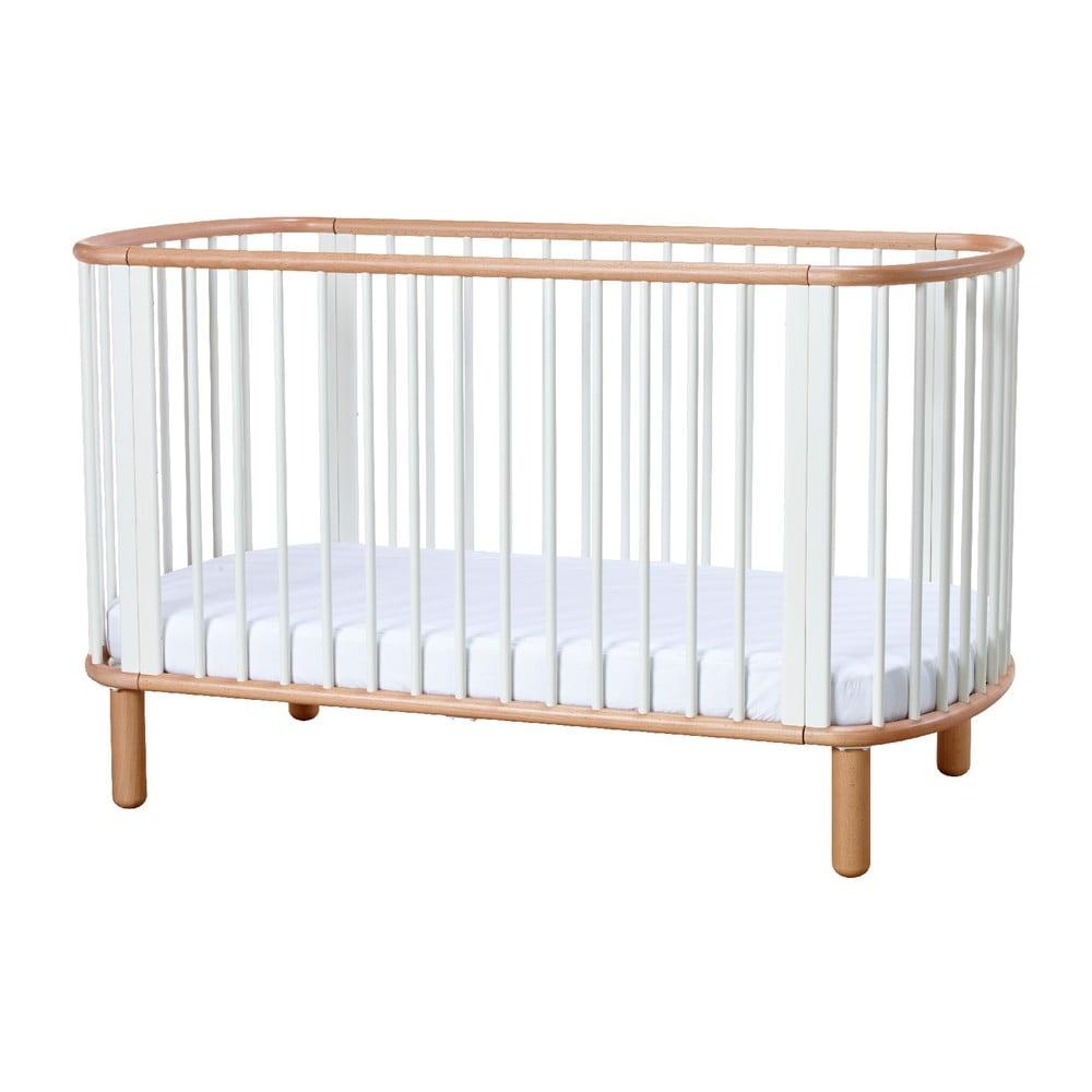 Biela detská posteľka z bukového dreva Flexa Baby, 70 x 140 cm