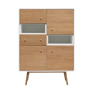 Vitrína z dreva bieleho duba Unique Furniture Turin
