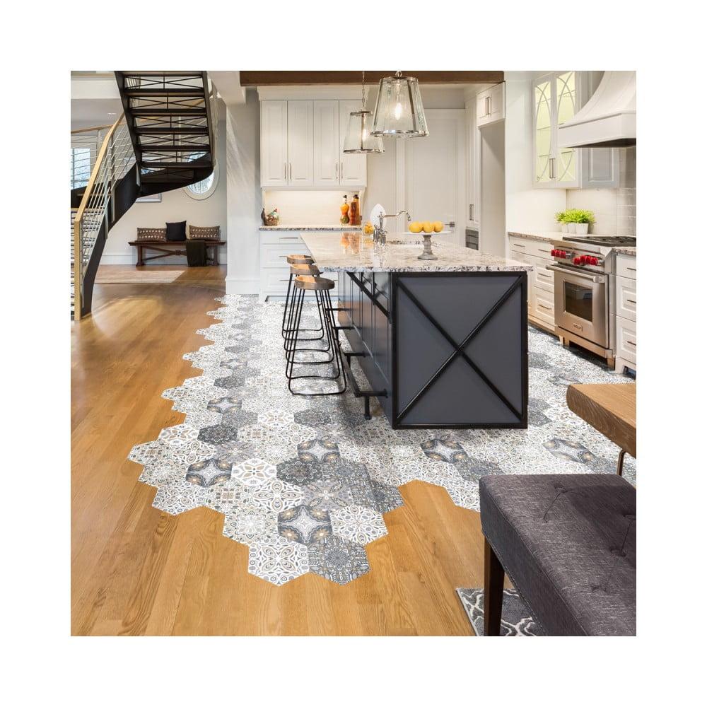 Sada 10 samolepiek na podlahu Ambiance Floor Stickers Hexagons Emilana, 40 × 90 cm