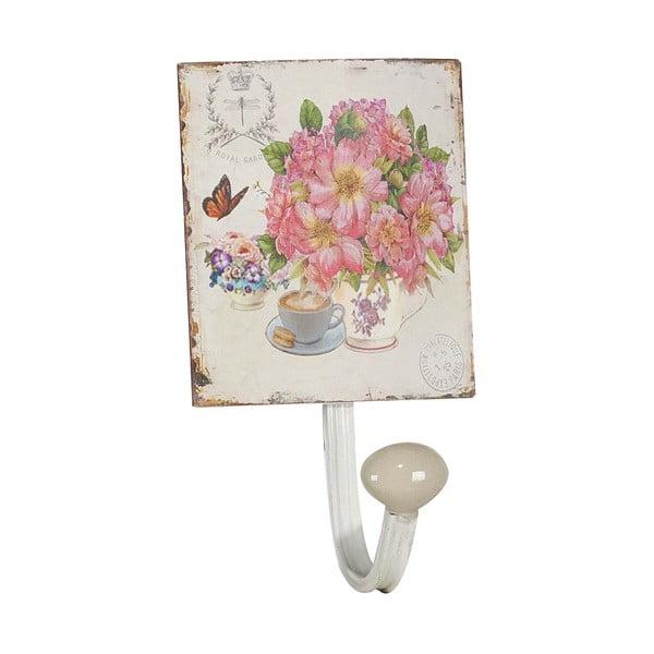 Kovový vešiak Pink Flowers