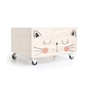 Drevená škatuľa na kolieskach Little Nice Things Cat