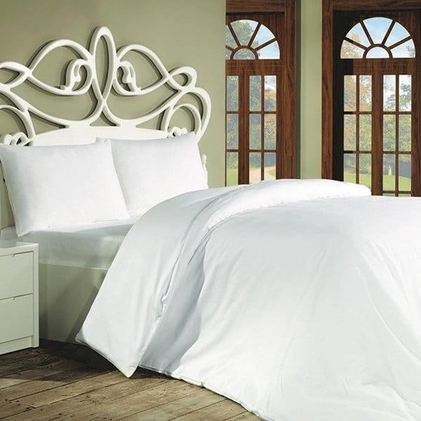 Bavlnené obliečky s plachtou na dvojlôžko a 2 obliečky na vankúše Plain, 200×220 cm
