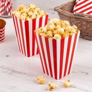Sada 8 červených papierových škatuliek na popcorn Neviti Carnival Stripes