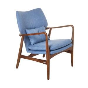 Modré kreslo s konštrukciou s jaseňového dreva pols potten Peggy