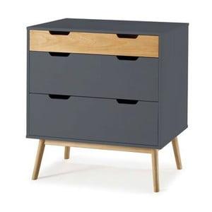 Sivá komoda s kontrastnou prírodnou zásuvkou z borovicového dreva SOB Van