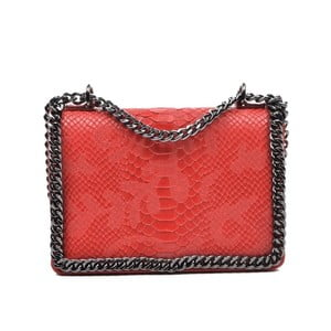 Červená kožená kabelka Mangotti Sadia