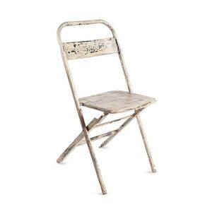 Biela kovová skladacia stolička s patinou RGE Mash