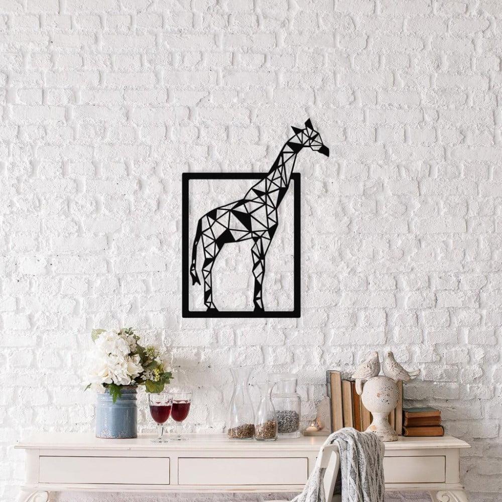 Čierna kovová nástenná dekorácia Giraffe, 45 × 60 cm