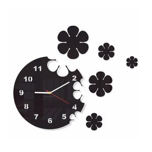 Hodiny z plexiskla Flowers Black