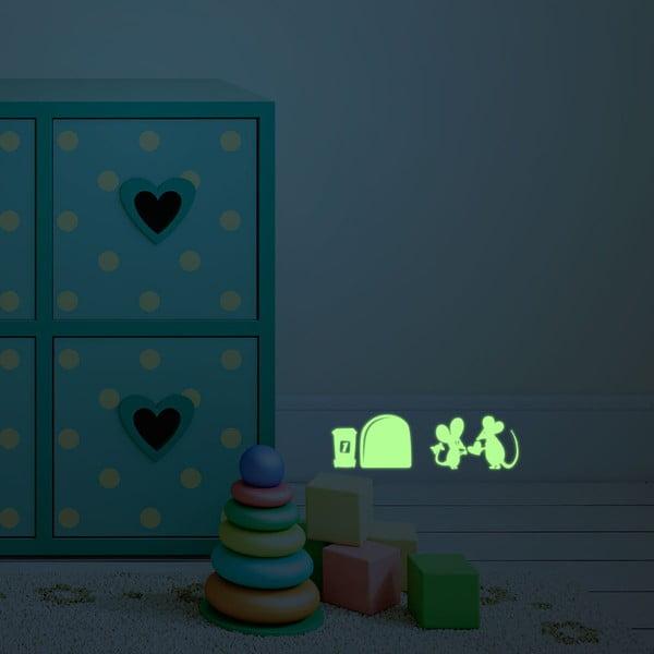 Samolepka svietiaca v tme MaDéco Little Mouses In Love