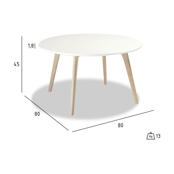 Biely konferenčný stolík s nohami z dubového dreva Furnhouse Life, Ø 80 cm
