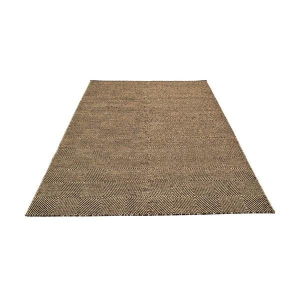 Ručne tkaný koberec Dark Brown Kilim, 160x222 cm