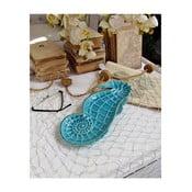 Modrý dekoratívny tanier Orchidea Milano Seahorse, dĺžka 32 cm