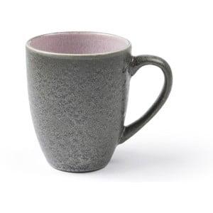 Sivý kameninový hrnček s uškom s vnútornou glazúrou v ružovej farbe Bitz Mensa, 300 ml