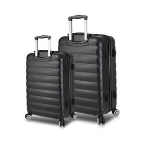 Sada 2 čiernych cestovných kufrov na kolieskach s USB porty My Valice RESSNO Large & Medium