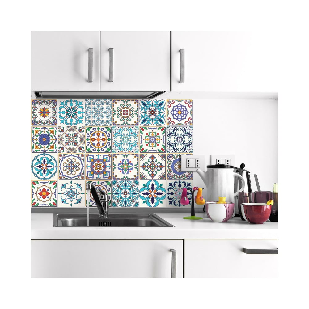 Sada 24 nástenných samolepiek Ambiance Wall Decals Patchwork Tiles, 20 × 20 cm