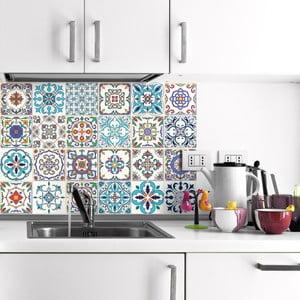 Sada 24 nástenných samolepiek Ambiance Wall Decals Patchwork Tiles, 20×20 cm