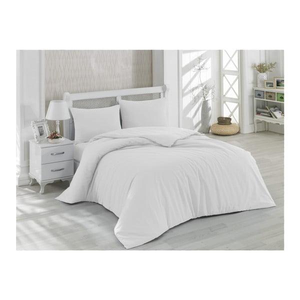 Fialovo-biele bavlnené obliečky s plachtou na dvojlôžko Precioso, 200×220cm