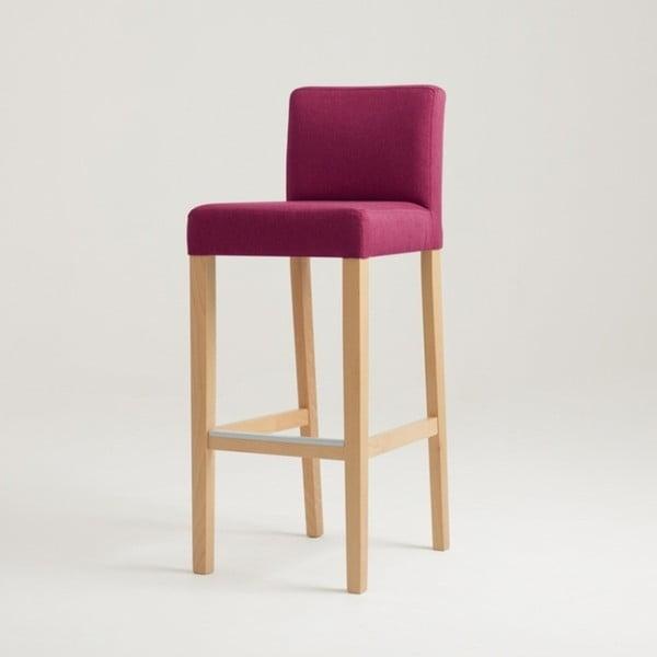 Fuchsiovoružová barová stolička s prírodnými nohami Custom Form Wilton