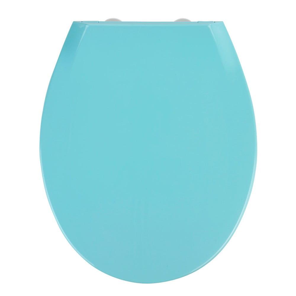 Modré WC sedadlo s jednoduchým zatváraním Wenko Kos, 44 × 37,5 cm