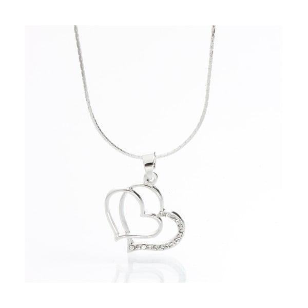 Náhrdelník Laura Bruni so Swarovski Elements Double Heart Crystal