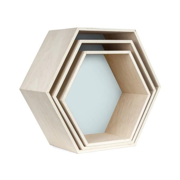 Sada 3 nástenných poličiek Hexagon, modrá